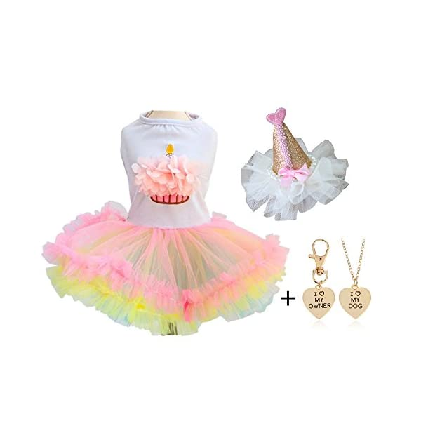 Ollypet Pack of 2 Cute Clothes for Small Dogs Tutu Dresses for Girls Cupcake Birthday Hat Pet Apparel Cats Puppy Summer