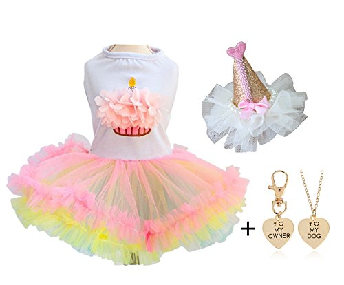 Ollypet Set of 2 Cute Clothes For Small Dogs Tutu Dresses for Girls Cupcake Birthday Hat Pet Apparel Cats Puppy Summer FREE GIFT L