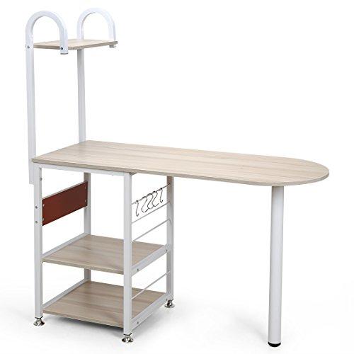 4 Tier Multipurpose Storage Shelf Bakers Rack, Metal Frame and Wooden Worktop for Kitchen by BestValue GO (Image #1)