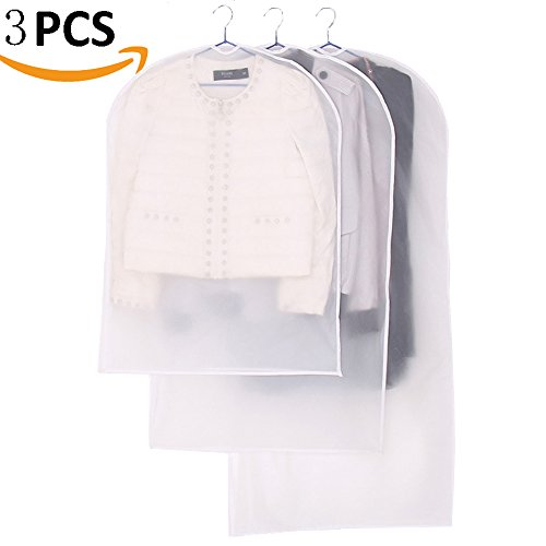 AIYoo Garment Bag 3 Pack 3 Size Full Zipper Suit Bags White