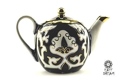 """Uzbek national blue Tea set """"Paxtagul. Uzbek Tea set PAKHTA.Brand Eastdream. Uzbekistan."""
