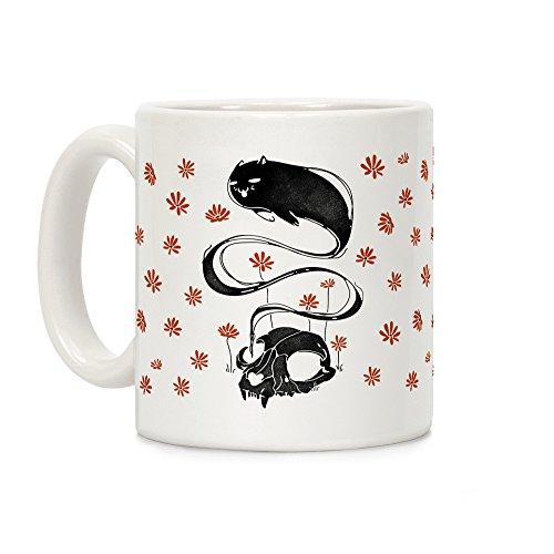 LookHUMAN Cat Ghost White 11 Ounce Ceramic Coffee Mug -