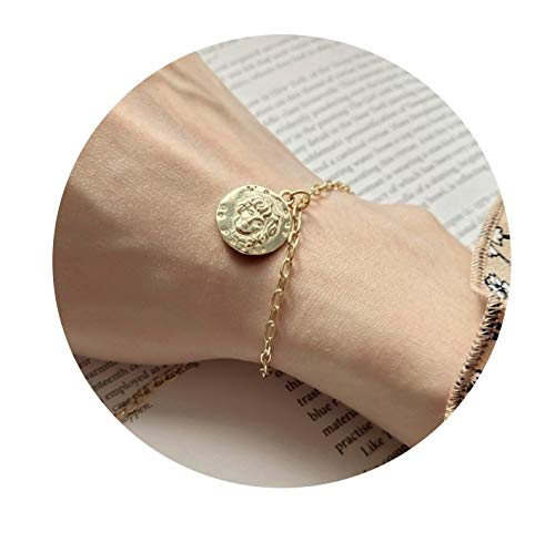 Citled Gold Coin Bracelet,18K Gold Plated Delicate Cameo Queen Coin Disc Pendant Charm Bracelets for Women Girls Jewelry Gift