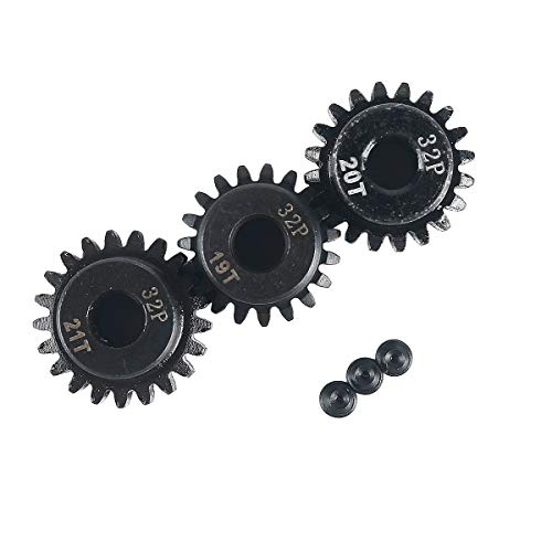 RCRunning 32DP 5mm 19T 20T 21T Motor Pinion Gear for 1/8 RC Car Brushed Brushless Motor ()