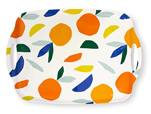 Kate Spade New York Melamine Serving Tray with Handles, 19.75 inches x 14 inches, Dishwasher Safe, Citrus Twist (With Trays Melamine Handles)