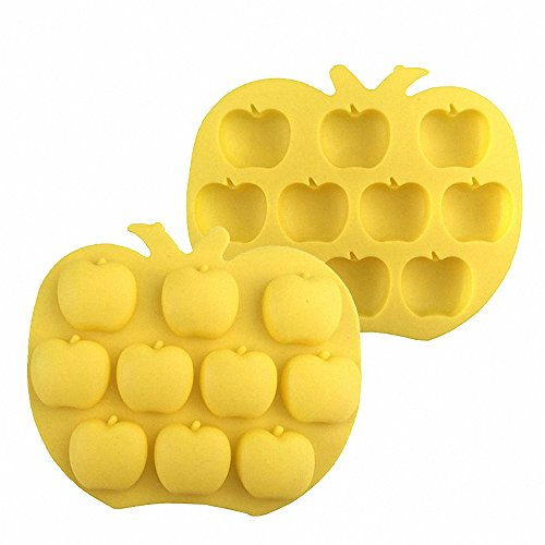 Apple Mold Silicone - MoldFun 2-Pack Apple Silicone Molds Apple Mold for Chocolate, Cupcake topper, Jello, Candy, Gummy, Ice Cube, Cookie, Muffin, Mini Soap