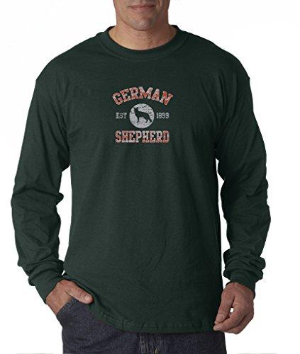 German Shepherd Dog Cute Puppy GSD AKC Long Sleeve T-Shirt S-3XL - Forrest Green - (Akc German Shepherd)
