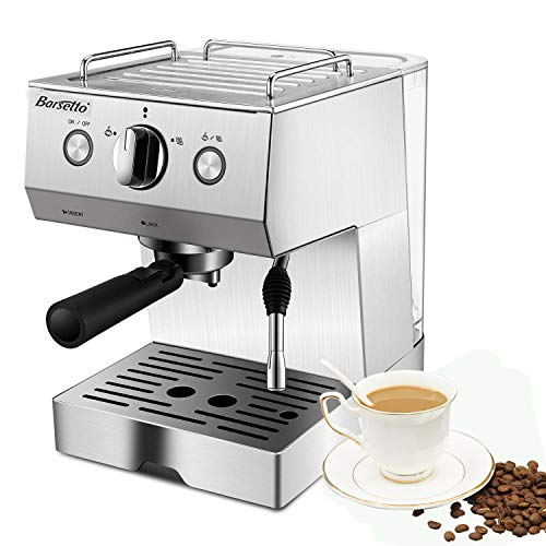 Espresso Machine, Coffee Machine with 15 Bar Pump Powerful Pressure,Stainless Steel Coffee maker with Milk Frother Wand for Cappuccino Latte and Mocha,1050W