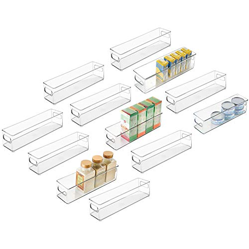 mDesign Plastic Stackable Food Storage Container Bin with Handles for Kitchen, Pantry, Cabinet, Fridge, Freezer - Long Narrow Organizer for Snacks, Produce, Vegetables, Pasta,12 Pack - Clear