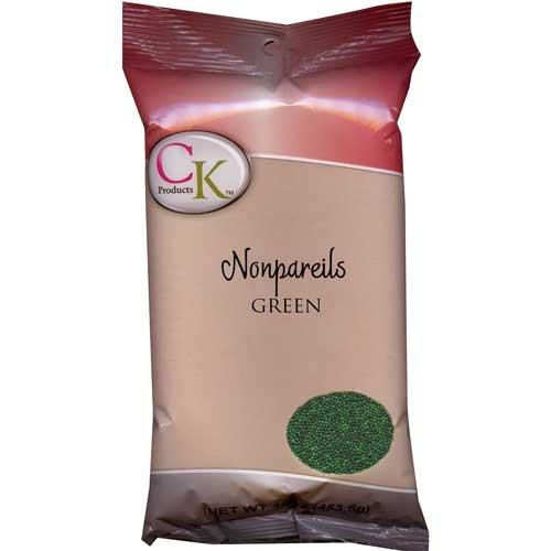 Green Non Pareils - CK Products 16 Ounce Bag of Non Pareil, Green