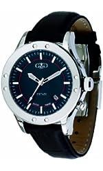 Gio Monaco Men's 775-F Estasi Automatic Black Dial Leather Date Watch