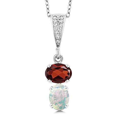 Gem Stone King 2.32 Ct Oval Red Garnet White Simulated Opal 925 Sterling Silver Pendant