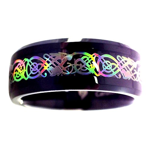 Fantasy Forge Jewelry Rainbow Hologram Style Celtic Dragon Black Tungsten Ring Size 6.5 by Fantasy Forge Jewelry