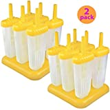 Tovolo Groovy Ice Pop Molds, Yellow - Set of 6 (YELLOW, 2)