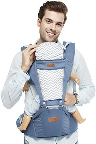 BOYOVO Baby Carrier, 2 in 1 Sling and Hip Seat Suitable for All Seasons, More Comfortable Thicker and Wider Shoulder Strap, Longer Waist Strap, Cotton+Polyester, Teething Pads,0-36 months (Blue)