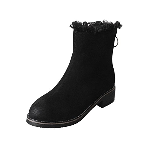 Inkach Femmes Bottines Fausse Fourrure Doublure Botte De Neige Talon Plat Casual Martin Chaussures Noir