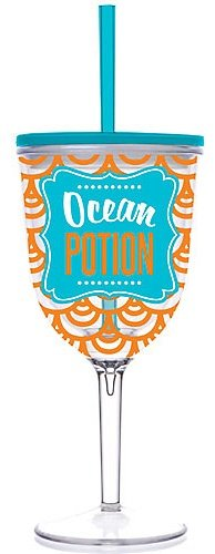 ''Ocean Potion'' Double-Wall Acrylic Wine Glass