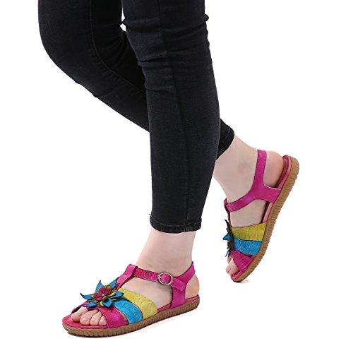Libre Al Moda Botón Colorido Con Luz Amarillo Mujeres Decoraciones Fiesta Verano Plano Gracosy Cuero Ocasional Las Zire Azul De Púrpura Rosa Flores Sandalias Zapatos CTv7qY6