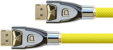 PYTHON Series PREMIUM DisplayPort 1.2 Anschlusskabel - 4K2K / UHD - 3-fach Schirmung, Vollmetallstecker, vergoldete Stecker + Verriegelungsschutz - KUPFERLEITER - 3D - Nylongeflecht - gelb, 1m
