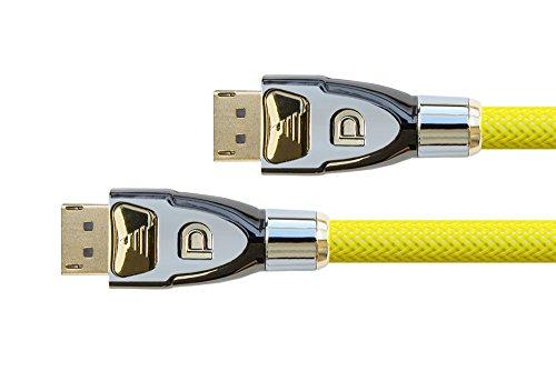 PYTHON® Series PREMIUM DisplayPort 1.2 Anschlusskabel - 4K2K / UHD / Ultra HD - 3-fach Schirmung, Vollmetallstecker, vergoldete Stecker inkl. Verriegelungsschutz - Kupferleiter (OFC), 3D-Unterstützung, Datenrate: 21,6 Gbit/s, Nylongeflecht - gelb, 5m