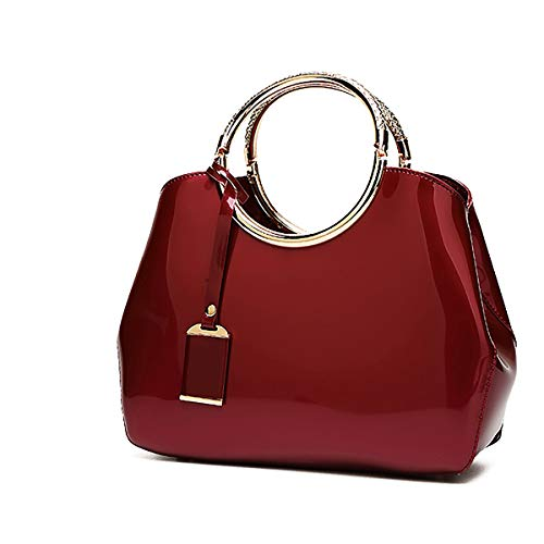x Claret EDLUX Bag x Wine Handbag Women Ladies Polyester Pattern with Bright for Patent Messenger Cotton Zipper Leather 5 with Red 22cm Fashion Wedding 10 28 Bag Claret Shoulder Bag q7rq5Ewz