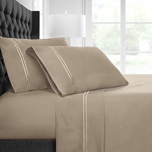 Italian Luxury Embroidered 4pc Bed Sheet Set - Ultra Soft Microfiber w/ Beautiful Rope Embroidery - Wrinkle & Fade Resistant,Hypoallergenic Sheet & Pillow Case Set - Queen - Taupe/Cream
