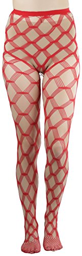 ToBeInStyle Women's Seamless Spandex Diamond Lace Multi Net Pantyhose Stockings - Red - One Size: Regular