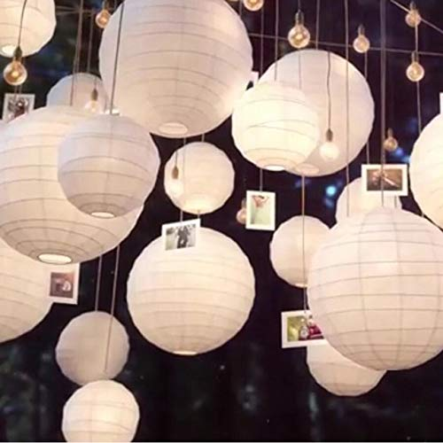 BeesClover 30pcs/Lot Mix Size (20cm,30cm,35cm,40cm) White Paper Lanterns Chinese Paper Ball Lampion for Wedding Party Holiday Decoration White ()