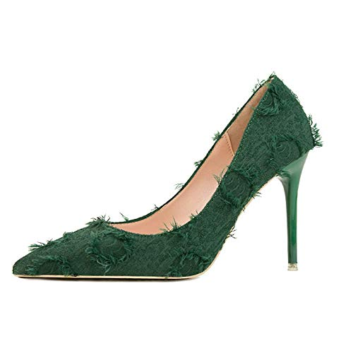 Top Shishang Womens Pointed Toe Lace UP Ankle Tie Glitter High Heel Court Shoes   Party Club bar Wedding,Green,34