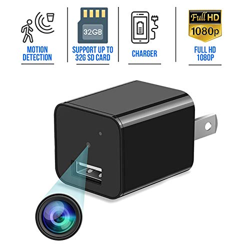 Spy Camera Charger – Mini Spy Wireless Hidden Camera with Audio Recorder 1080p – Wide-Angle Secret Small Nanny Cam – USB Charger Camera – Motion Detector Spy Cam – Security Surveillance Camera Full HD