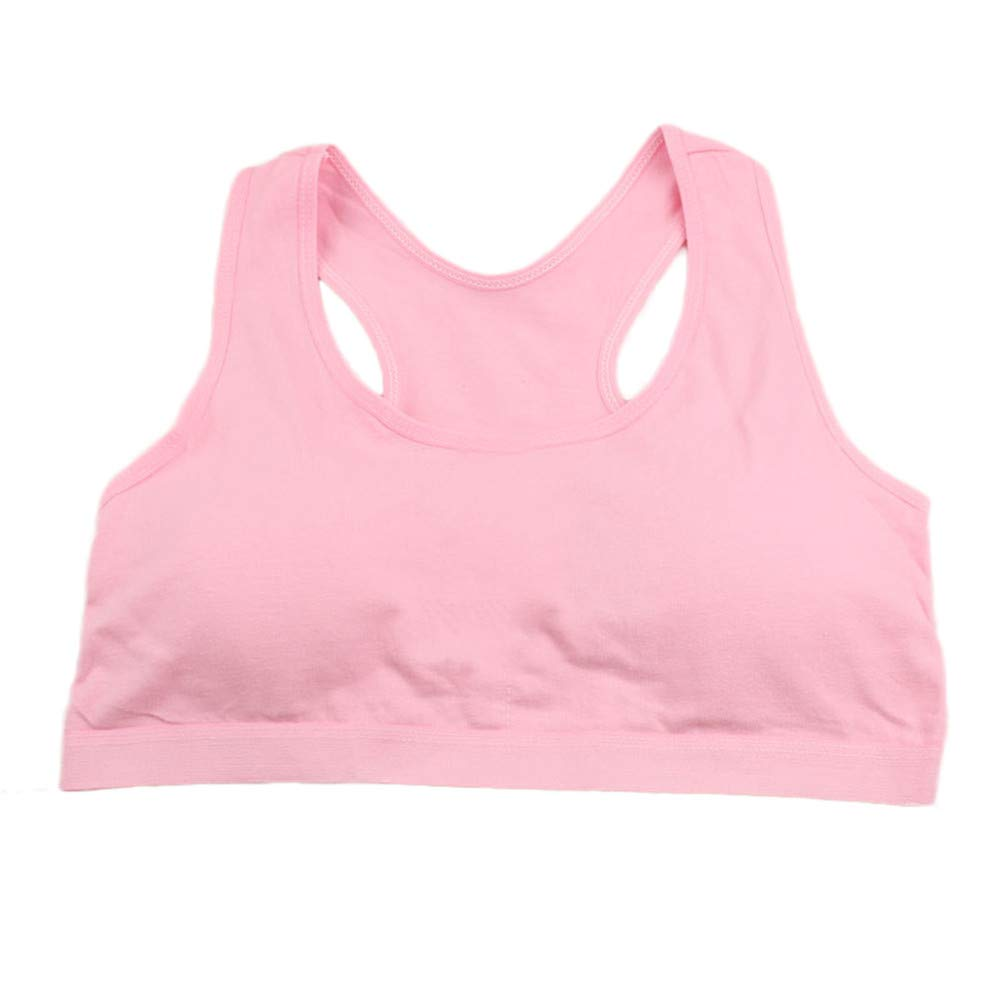 XILALU Big Girls Sports Bra,Seamless Solid Racerback Vest Training Cotton Padded Tops Clothes Breathable Underwear(10T-15T)