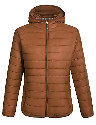 Showyoo Women's Hooded Packable Ultra Lightweight Short Down Jacket Outwear Coat Coffee XXL (Down Brown Coats Women)