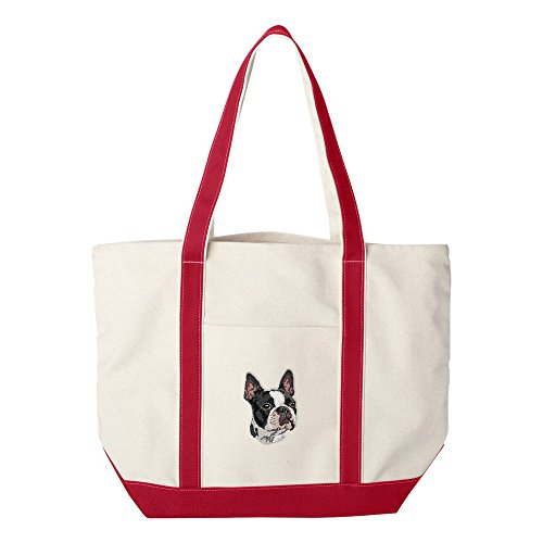 - Cherrybrook Dog Breed Embroidered Canvas Tote Bags - Red - Boston Terrier