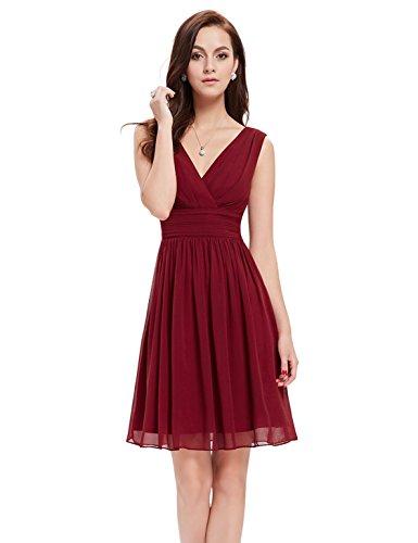 Ever-Pretty Womens Empire Waist Ruched Bridesmaids Dress 16 US Burgundy