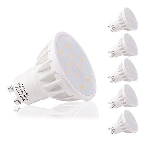 LOHAS® 6W GU10 LED Lampen, Ersatz für 50W Halogenlampen, 500LM, Warmweiß 3000K, 120°Strahlwinkel, LED Lampe, LED Birnen, LED Leuchtmittel, 5er Pack