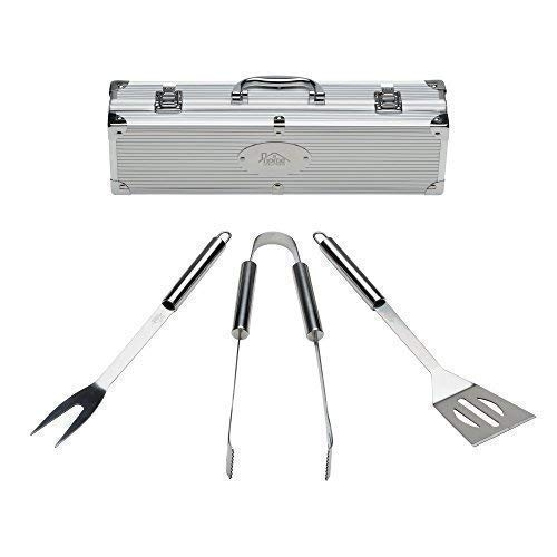 Home Solutions Grill Tools Set with Barbecue Accessories – Stainless Steel BBQ Utensils with Aluminum Case – Small…