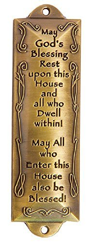 - 1 X Bless This House Brass Mezuzah with Hebrew Parchment in Gift Box & Placement Guide by Unbranded