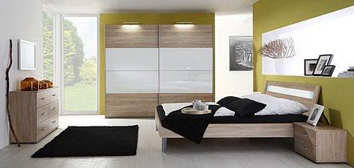 Schlafzimmer 4-tlg. in Eiche sägerau-Nachb. mit Abs. in Glas Weiß, 2-trg. Schrank B: 270, cm, Futonbett 180 x 200 cm, 2 Nachtschränke B. 52 cm