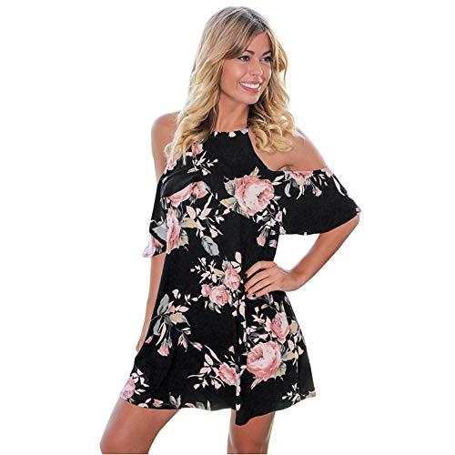 TnaIolral Women Dresses Black Floral Strapless Shoulder Short Print Flower Skirt