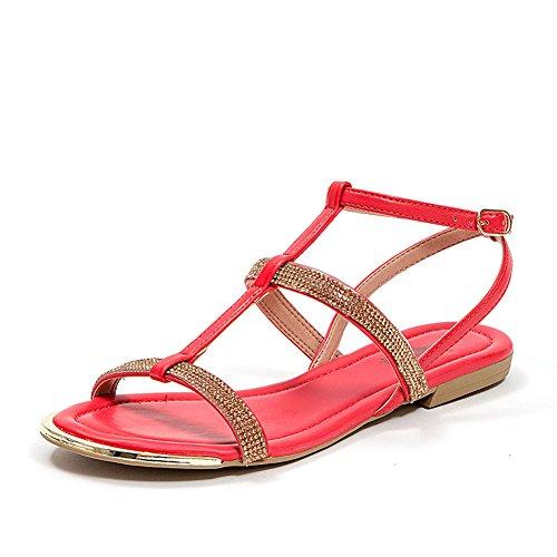French Blu Mujeres Sparkle Rhinestone Tobillo T-strap Sandal Red