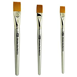 "ZEM Brush Golden Taklon Wash Brush Set Sizes 1/2"", 3/4"", 1"""