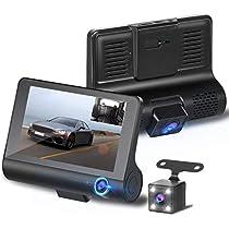 【2019最新版 3カメラ搭載】ドライブレコーダー 前後カメラ 車載カメラ 車内外同時録画 リアカメラ付き 4.0インチ画面 1080PフルHD 駐車監視 170°広視野角 常時録画 G-sensor WDR搭載 (32GB SDカード付き)
