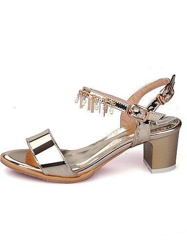 ShangYi Women's Shoes Chunky Heel Open Toe Sandals Dress Purple / Silver / Gold golden 6NhLTI