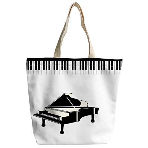 Violetpos Benutzerdefiniert Canvas Handtasche Einkaufstaschen Umhängetasche Schultasche Klavier Schlüssel Schwarz und Weiß Musik