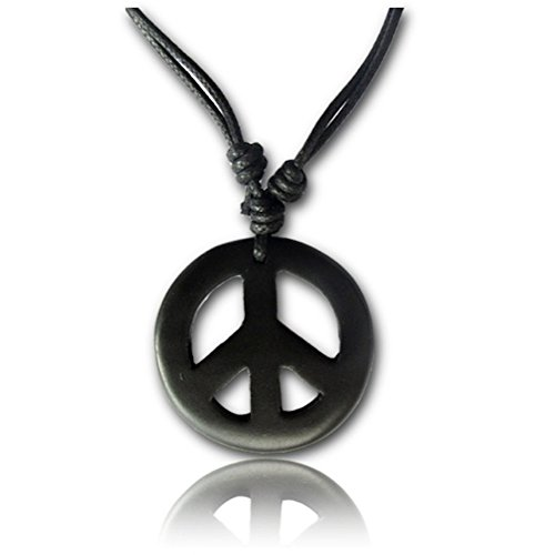 Earth Accessories Adjustable Peace Sign Pendant Necklace with