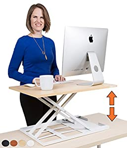 X-Elite – Stand Steady Standing Desk | X-Elite Pro Version, Instantly Convert Any Desk into a Sit / Stand up Desk, Height-Adjustable, Fully Assembled Desk Converter (Maple .)