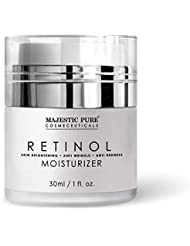 Majestic Pure Retinol Moisturizer Cream - Face and Eye Area Night Cream - Reduces the Appearance of Wrinkles, Fine Lines - 1 fl. oz.