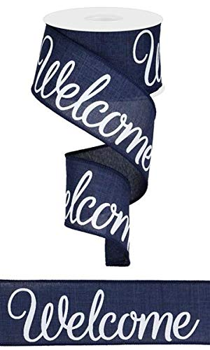 - Welcome Canvas Wired Edge Ribbon, 2.5