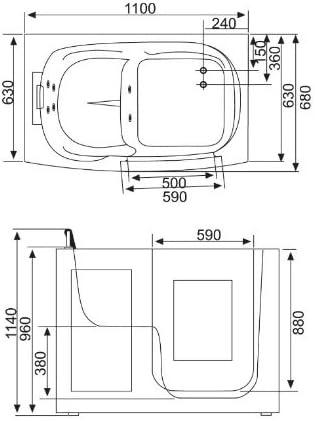 Senioren Sitzbadewanne Seniorenbadewanne Sitzwanne Badewanne mit Tür Pool A108
