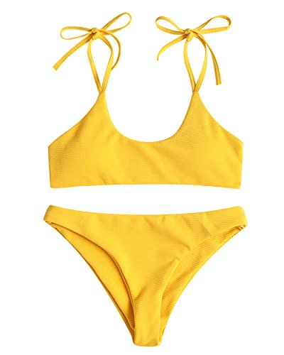 ZAFUL Women's Sexy Tie Shoulders Ribbed Bikini Set Padded Strap Triangle Swimsuit(Yellow,L)